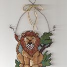 'LION' Curly Q-Completed Plastic Canvas Cross Stitch