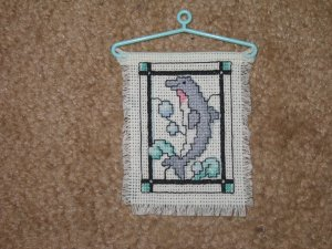 """DOLPHIN' Mini Cross Stitch-Completed-Hangable"