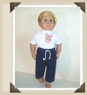 New Doll Clothing - Icecream Sundae n Denim Capri set for American Girl Doll
