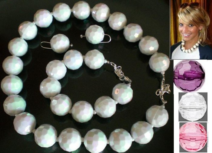 Hollywood Style Funky Chunky Round Choker Necklace, Bracelet and Earring Jewelry Set