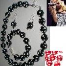 Rockabilly Retro Style Polka Dot Necklace, Bracelet and Earring Jewelry Set