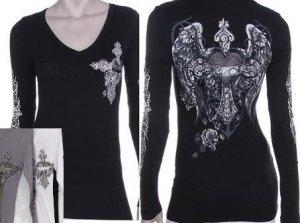 Sinful inspired Long Sleeve Wing Cross Heart Tattoo Gray Shirt