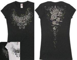 Rock N Rose Scroll Sinful RoseTattoo Rhinestone Tee / T Shirt