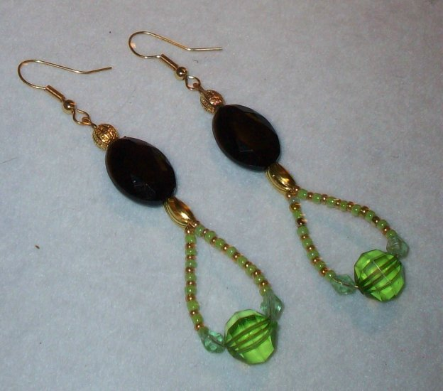 Gold, Black, Green Earrings