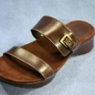 ENZO ANGIOLINI BROWN LEATHER WEDGE SLIDE SANDALS 6.5 M