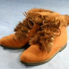 CLAUDINE SALAMANDER BROWN FUR CUFF ANKLE BOOTS 6 M MINT