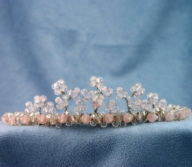 Chrissy Tiara by Elizabeth Claire in Rose Quartz