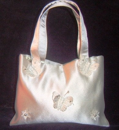 Silk Satin Bridal Purse w/ Butterflies by Erin Cole