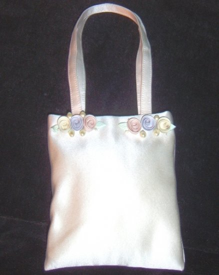 Silk Satin Bridal Purse w/ Pastel Ceramic Flowers & Pearls by Erin Cole