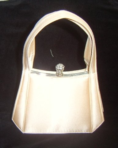 Silver Framed Champagne Satin Bag w/ Crystal Closure