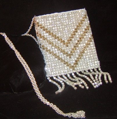 Silver and Gold Crystal Purse with Crystal Fringe