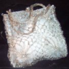 Lisa Toland Silver Wire and Silk Bag with Glass Beads