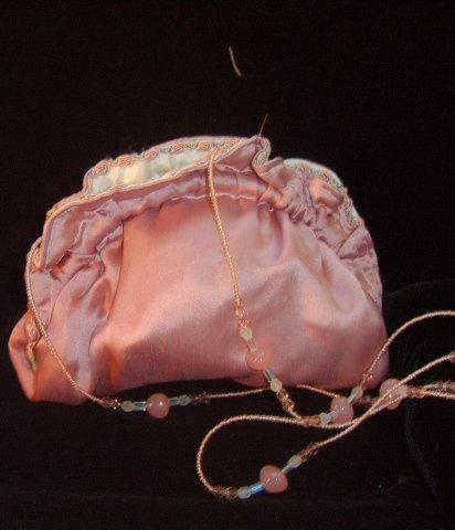 Vintage Lisa Violetto Rose SAtin Handbag w/ Beaded Strap