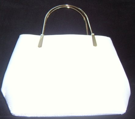White w/ Silver Handle Bridal Tote Bag