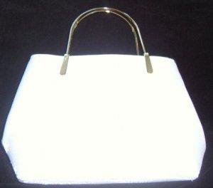 White w/ Silver Handle Bridal Tote Bag