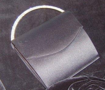 Black Matte Satin Evening Bag w/ Swarovski Pave Crystal Handle