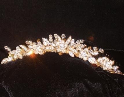 Paige Petite Crystal & Gold Tiara Comb