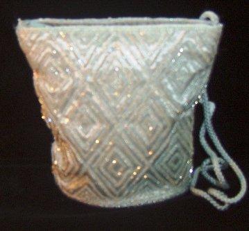 Ice Blue Satin & Bead Evening Bag