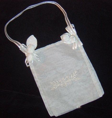 "Sheer Embroidered ""Kisses"" Mini Bridal Purse"