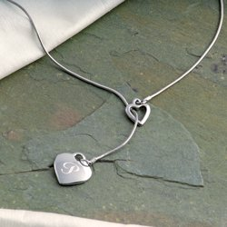Personalized Double Heart Lariat
