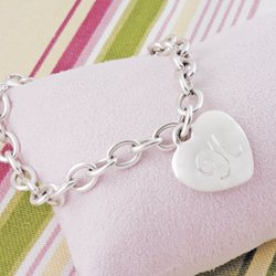 Personalized Heavy Weight Heart Charm Bracelet