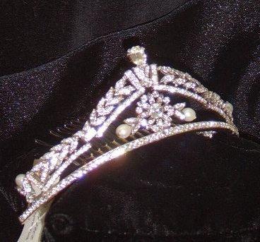 Emerald Cut Elegance Tiara  in rhodium, crystal & pearl by Regina B