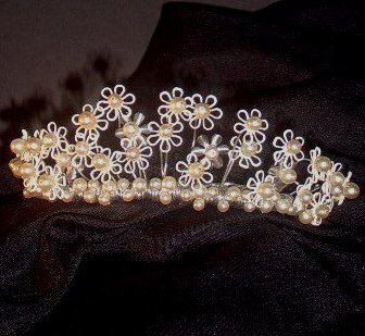 Dainty June Enameled Daisy Bridal Tiara by Debra Moreland for Paris