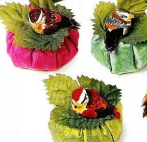 Set of 6 Silk Dupioni Sachets w/ feathered birds