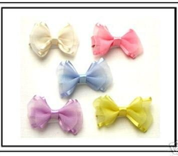 Boxed Set of Baby  Organza & Satin Hair Bows on Velcro