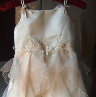Sarah Louise Ivory Flowergirl Dress with Beading & Chiffon Ruffles
