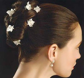 Graceful Porcelain Flower Hair Jewelry with Crystal Centers - set of 6 AA330