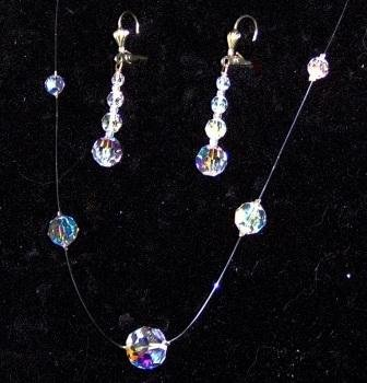 Galaxy Necklace & Earring Set in Aurora Borealis Crystal by Elizabeth Claire