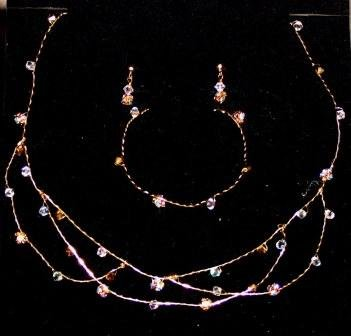 Thea handcrafted wire & Crystal Jewelry Set by Elizabeth Claire,