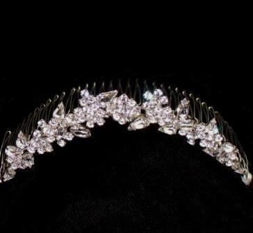Perfect Pear Cubic Zirconia & Swarovski Crystal Comb  set in Non-tarnishing Silver