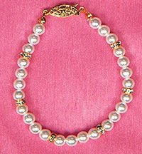 Pearl & Crystal Rondell  Bracelet in  Gold or Silver