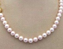 "Classic Glass Pearl  Hand-knotted 18"" Necklace with Gold Clasp"