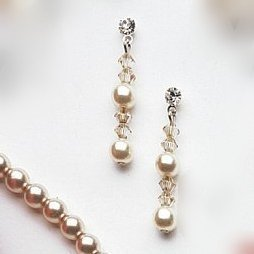 Graceful Lily Drop Earring in Crystal and Pearl