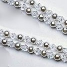 Grace Double Strand Pearl & Crystal Bracelet in your choice of colors