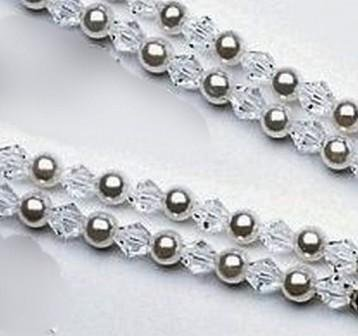 Grace Double Strand Pearl and Crystal Necklace w/ Adjustable Clasp