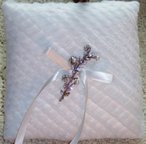 Regina Pleated White Organza Ringbearer Pillow with Vintage Rhodium Set Crystal & Pearl Decoration