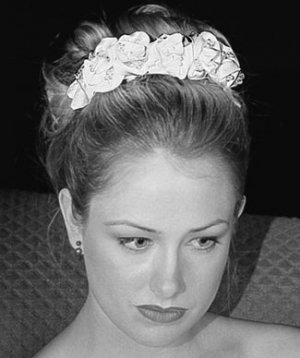 Kristina's Rolled Rose Italian Silk Satin Headpiece with Swarovski Crystals