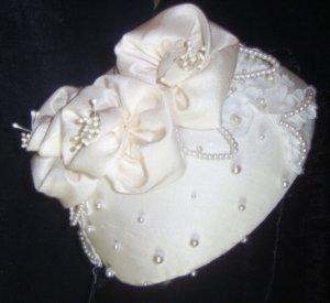 Juliette, Dupioni Silk  and Silk Satin Handcrafted beaded Juliette cap