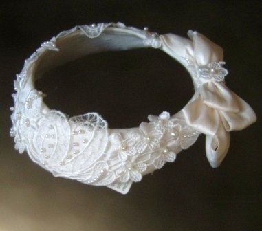Ciara's Circlet Silk and Venice Lace  Flowergirl Wreath with Back Bow