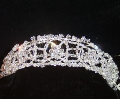 Celestine Clear Swarovski Crystal and Pearl  Openwork Tiara on a Silver Frame