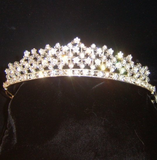 Crystal's Woven Flowers Tiara in Silver