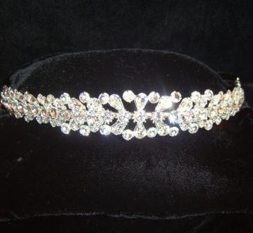 Crystal Burst Tiara Band  with brilliant and pear crystal
