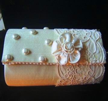Ivory Silk & Alencon Lace Purse with Pearls and Flower Closure