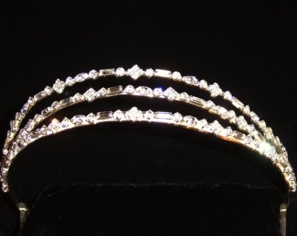 Samia Split Crystal Band Tiara of Baguette, Brilliant & Marquis Crystals set in Silver