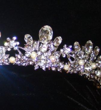 Ora Tiara with Large Oval Swarovski Crystals set in an intricate Rhodium open tiara band