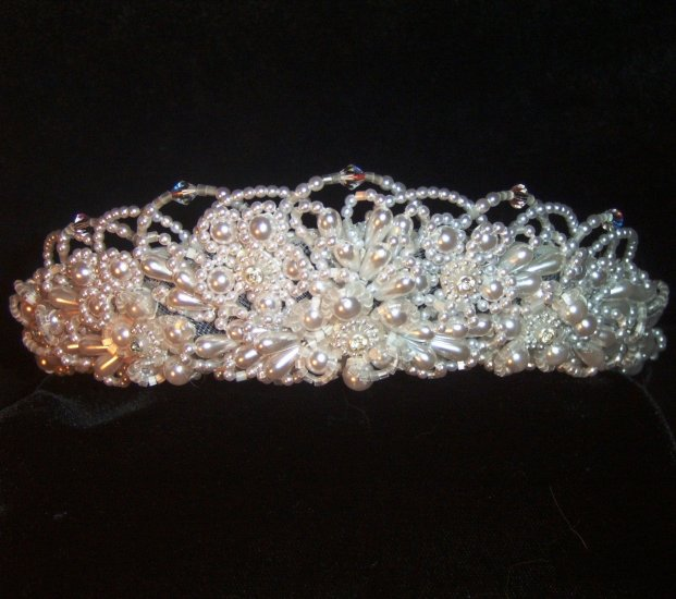 Hannah, pure White Pearl tiara with Roccaille beads & Swarovski Crystals